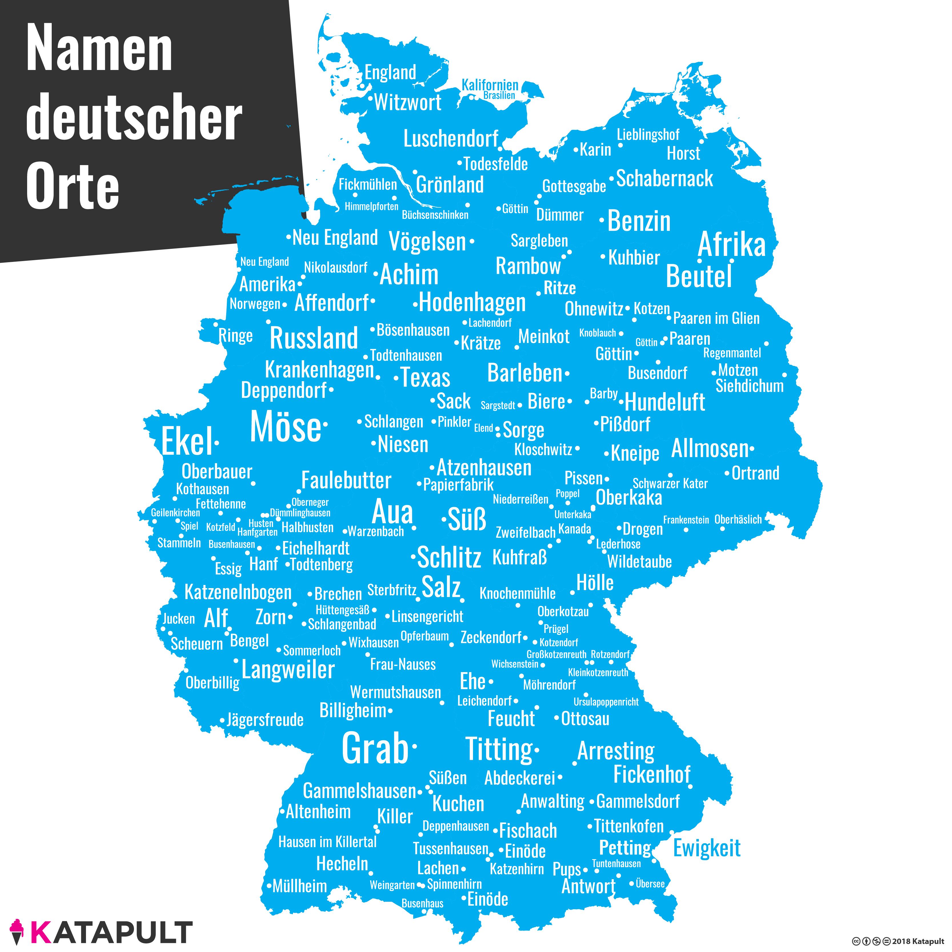 namen deutschland karte Deutschlandkarte   Namen deutscher Orte