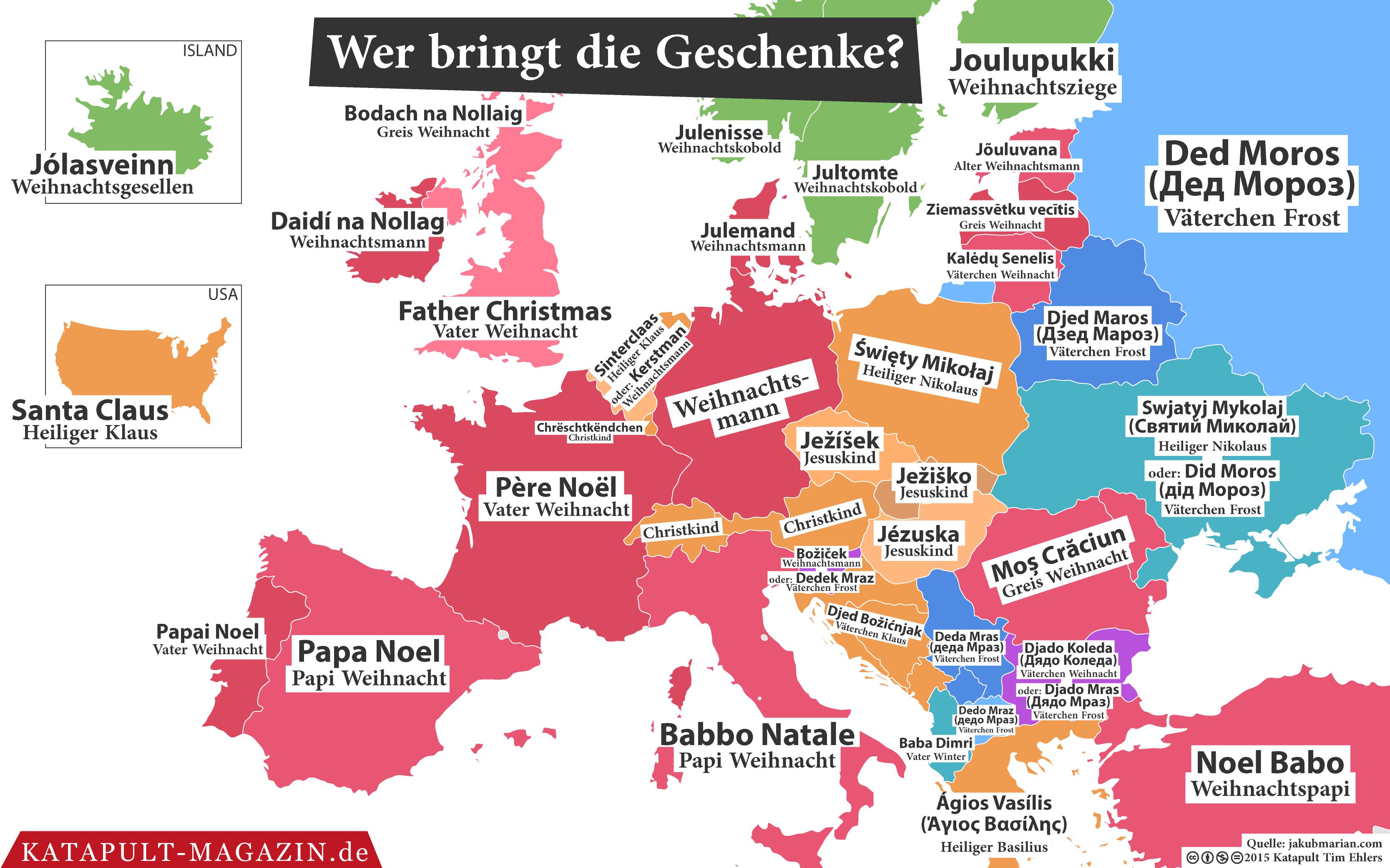 br uche in europa wer bringt die geschenke in deutschland. Black Bedroom Furniture Sets. Home Design Ideas